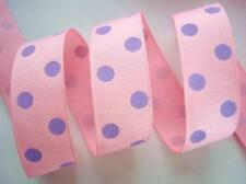 "5 yards Dippy Polka Dot Grosgrain 7/8"" Craft Ribbon/Pink/Lavender Purple R43-B"