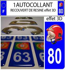 1 sticker plaque immatriculation auto DOMING 3D RESINE CASQUE F1 POMPIER DEPA 80