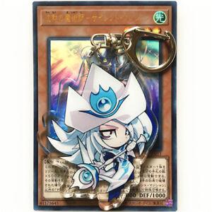 Yugioh YU Gi OH Dark Magician Black Magician Girl Acrylic Keychain Keyring Strap