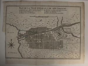 OSAKA JAPAN 1748 JACQUES NICOLAS BELLIN ANTIQUE COPPER ENGRAVED CITY MAP