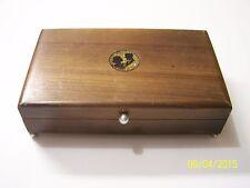 Vintage Walnut Jewelry Box with inlay of Bride & Groom