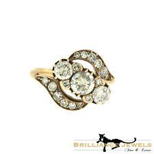 Gorgeous Three Stone Accents Diamond Swirl Pave Rose Gold Ring, 2.11 TCW