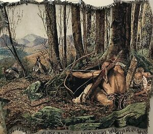 Jack Paluh Tapestry Throw Blanket Native Hunters The Hunt Continues Turkey Hunt
