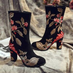 Womens Embroidered Pattern Ridding Velvet Lace Up Pointy Toe Heel Mid Calf Shoes