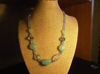 Handmade Light Green Glass Bead Necklace 18 Inch *NWOT*