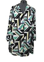 Worthington Top Plus Size 3X Womens White Stretch Abstract Pull Over