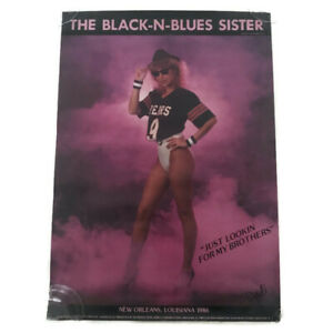 🔴 Vintage 80s Chicago Bears The Black-N-Blues Sister Poster Size 23 x 16 NFL