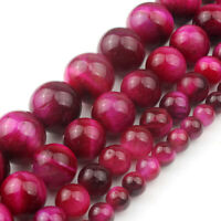 "Natural Gemstone Fuchsia Tiger Eye Stone Beads Strand 15"" Wholesale Loose Beads"
