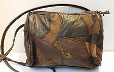 Vintage 80's Brown Patchwork Leather Crossbody Purse Bag