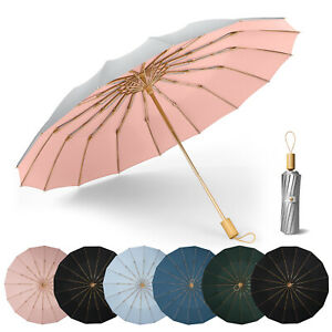 Folding Umbrella UPF 50+ UV Protection 16 Fibreglass Ribs Windproof Sun Blocking
