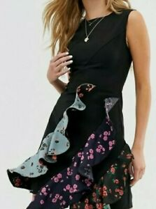 Women's Boohoo UK 10 Flamenco Black Frill Floral Dress Brand New With Tags