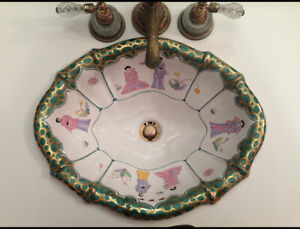 Sherle Wagner, 2 hand painted sink basins and hardware