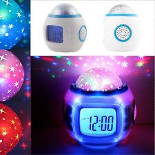 Musik LED Star Sky Projektion Digital ALARM Wecker Kalender Thermometer Kinder