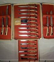 Regent Sheffield England Boxed Knife Set Vintage 17 Piece New Leaf Woodlyn Ivory