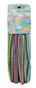 4 Black Multi Color Scunci Everyday & Active No Slip Grip Hair Double Head Bands
