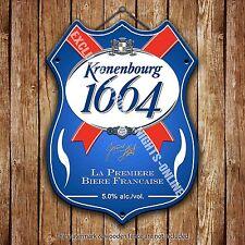 Kronenbourg 1664 Beer Advertising Bar Old Pub Metal Pump Badge Shield Steel Sign