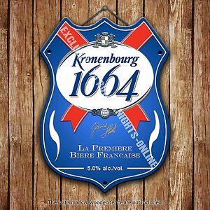 Kronenbourg 1664 Bière Publicité Barre Ancienne BAR Pub Métal Pump Badge