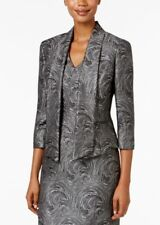 Kasper Metallic-print Jacquard Sheeth dress w/ open front jacket Sz. 10