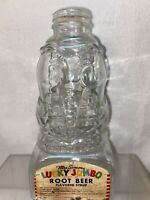 Vtg Mrs Simms LUCKY JUMBO ROOT BEER Syrup Glass Elephant Jar Bottle Bank