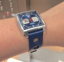 Blue rubber Heuer Monaco 1133B Tropic vintage watch band and Heuer buckle 5 sold