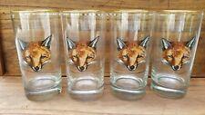 Set of 4 Vintage Fox Head/Mask HIGHBALL Glasses 24K Gold Rim Richard E. Bishop