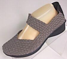 Bernie Mev Lulia Women 39 / 8.5 Wedge Heel Mary Jane Gray Silver Black Pump Shoe