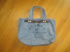 Jacobs by Marc Jacobs Slate Blue Canvas Tote Purse Handbag Suede Trim