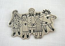 """VINTAGE .925 STERLING SILVER~EFS MEXICO~""""SAVE THE CHILDREN"""" 5 KIDS~PIN BROOCH"""