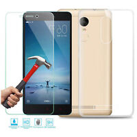 Clear Ultra Slim Gel Case and Glass Screen Protector for Xiaomi Redmi Note 3 5.5