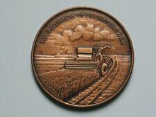 (1905) Saskatchewan CANADA Confederation Medal with Wheat Farm Combine & SK Map