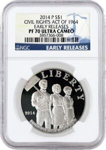 2014 P $1 Civil Rights Act Of 1964 Commemorative Silver Dollar NGC PF70 UC ER
