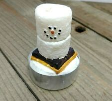 "(4) Christmas Tea Light Candles Smores Snowmen 2.5"" Tall"