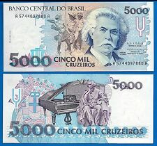 Brazil P-232c 5000 Cruzeiros Year ND 1993 Uncirculated Banknote