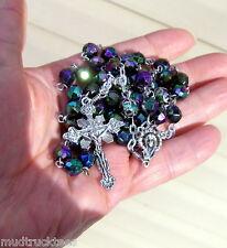 Plastic aurora black rosary catholic handmade Jesus prayer beads filigree Tibet