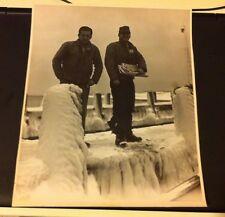 VINTAGE  8X10 BLACK AND WHITE PHOTO MEN STANDING ON ICY/SNOWY BRIDGE