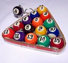 Lot of 16 Billiard Pool Ball Key Chain Varied Colors
