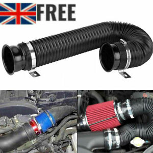 """Black 76mm 3"""" Cold Air Intake Feed Flexible Duct Pipe Hose Induction Kit Filter"""