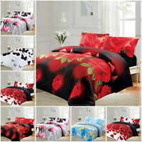 3 Piece Reversible Duvet Quilt Cover Floral Bedding Set Single Double King Size