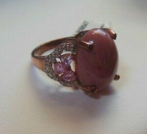 KARIS Collection Ring Pink Jasper & Pink Sapphire Rose Gold Bond Brass Size 8