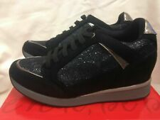 BNew  Black & Silver  Faux Suede  Lace  Hidden Wedge Trainers    All Sizes