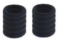 10 Pack BLACK Large Chunky Non Metal Hair Bobbles Ponios Elastic Ponytail Bands