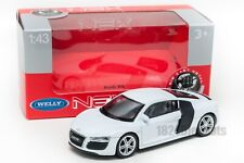 Audi R8 white, Welly 44025, scale 1:43, model toy car boy gift