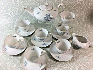 Vintage KPM Krister Germany Porcelain Teapot, Milk, Sugar, Cups & saucers
