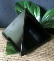 52.6g NATURAL JET BLACK OBSIDIAN CRYSTAL HEALING PYRAMID  Italy  REIKI CHARGED