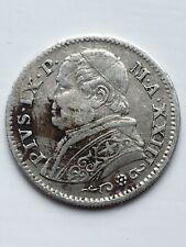 Italian States Papal States 10 Soldi Silver Coin 1869 XXIIIR