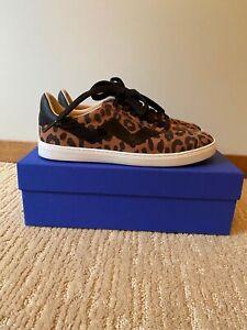 Stuart Weitzman Daryl Flat Sneaker in Brown Cheetah Suede Size 8