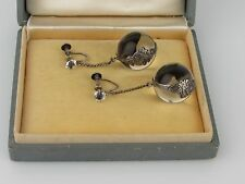Vintage Sterling Silver Pools Of Light Earrings with Floral Encasement