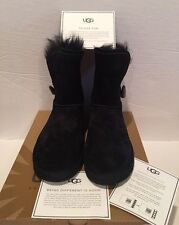 UGG BOOT MEADOW BLACK SUEDE SHEARLING CONVERTIBLE CUFF BOOTS WINTER SZ 6 NWB