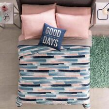 CHEQUERED Pink Blue Stripes Comforter Reversible Bedding Teens QUEEN Girl 4 PC