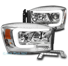FOR 06-08 DODGE RAM 1500 2500 3500 LED CHROME PROJECTOR HEADLIGHTS W/DRL SIGNAL